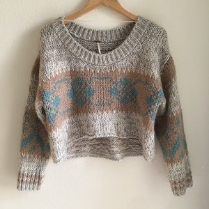 FREE PEOPLE Fair Isle Cropped Sweater Size S